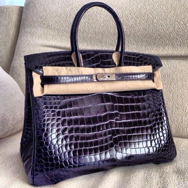 Hermes Birkin 35 blue marine croc PHW | Bags | Pinterest | Hermes ...