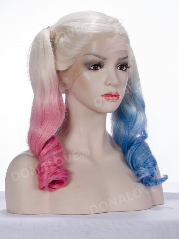 Harley Quinn Inspired Half pink half Blue Lace front synthetic Wig SNY096 - SYNTHETIC WIGS - DonaLoveHair