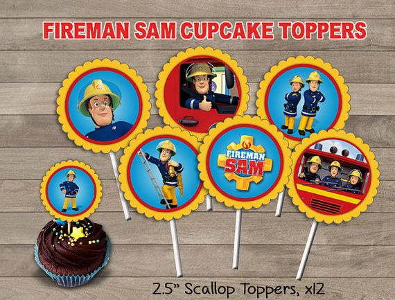 Fireman Sam Cupcake Toppers Fireman Sam Party by Printerama