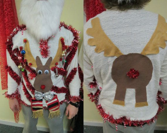 Custom 3-D Reindeer Tacky Ugly Christmas Sweater with Wild Garland, Light UP Mens Womens Free Shipping Vest or Long Sleeve, Free Shipping!