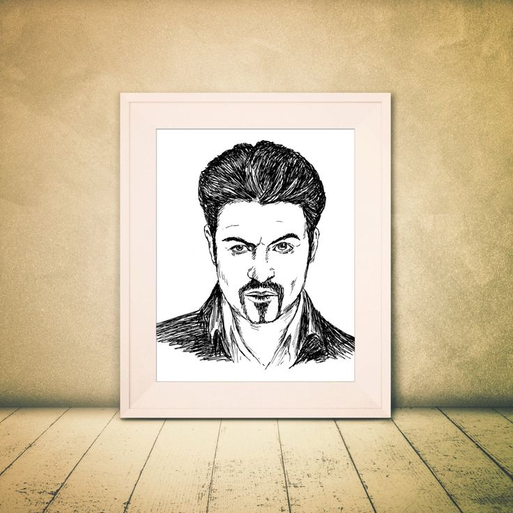 George Michael tribute, Printable Art, George Michael poster, Printable Wall Art, George Michel portrait, Black and White Prints by Rachelsfinelines on Etsy