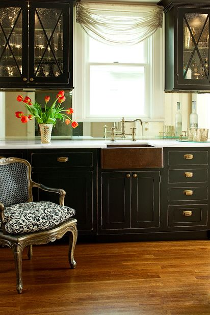 Love the copper farm sink, the cabinet color, the hardware, and the