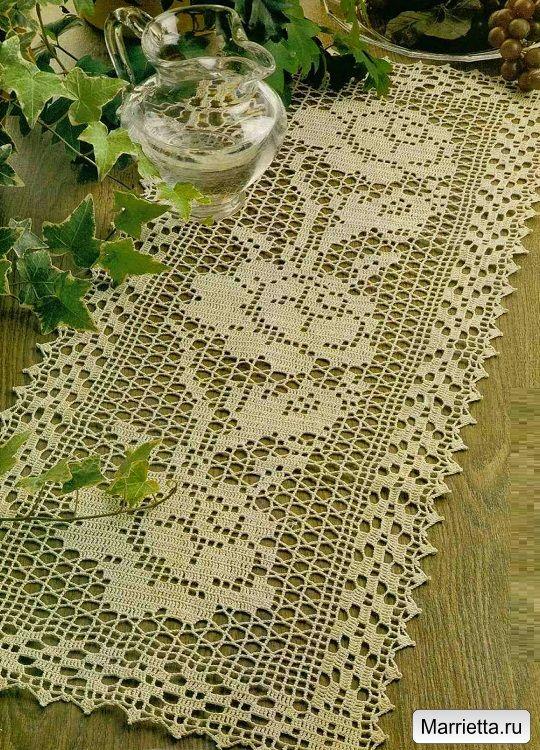 Crochet per la tua casa. Controfiletto maglia con le rose