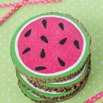 Dollar Store Crafts  » Blog Archive   » Make Wood Slice Watermelon Coasters