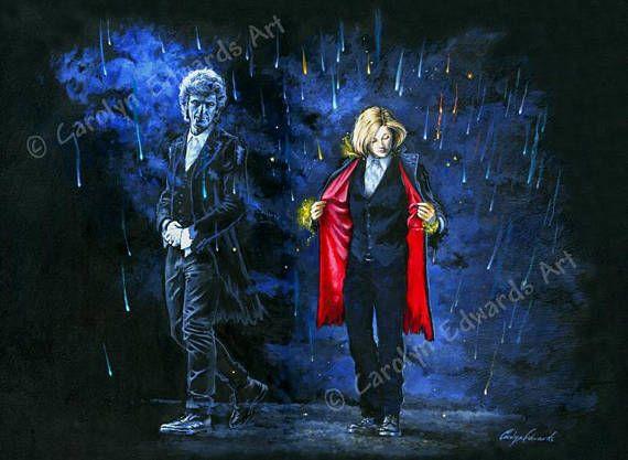 Il s'agit d'une très belle impression brillante d'une peinture originale par Carolyn Edwards, mettant en vedette Peter Capaldi comme le docteur 12 et Jodie Whittaker comme le docteur 13 entrant. Il a été reproduit sur papier photo brillant haute qualité. Prêt pour votre propre