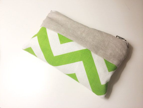 St. Patric day pencil case in green chevron and linen by chubbyABC