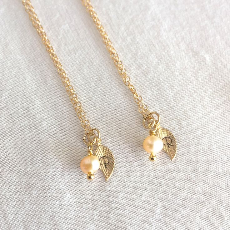 Bridesmaid Pearl Necklace, Monogram Necklace, Initial Necklace, Bridal Necklace, Gold Leaf Necklace, Personalized Necklace, Dainty Necklace by StampedEve on Etsy