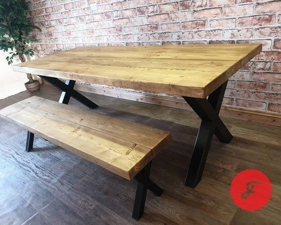 Industrial Dining Table And Bench Set With Reclaimed Wood Top