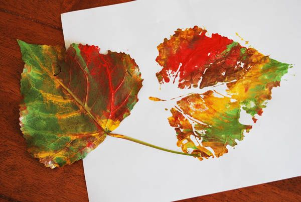Painted Fall Leaf - use different leaves as stencils, paint right on the leaf, & stamp it onto paper... I could help them identify the different textures and the similarities! September craft