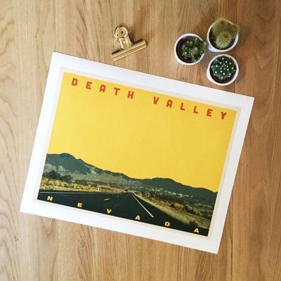 Death Valley, Nevada. Giclee travel art print