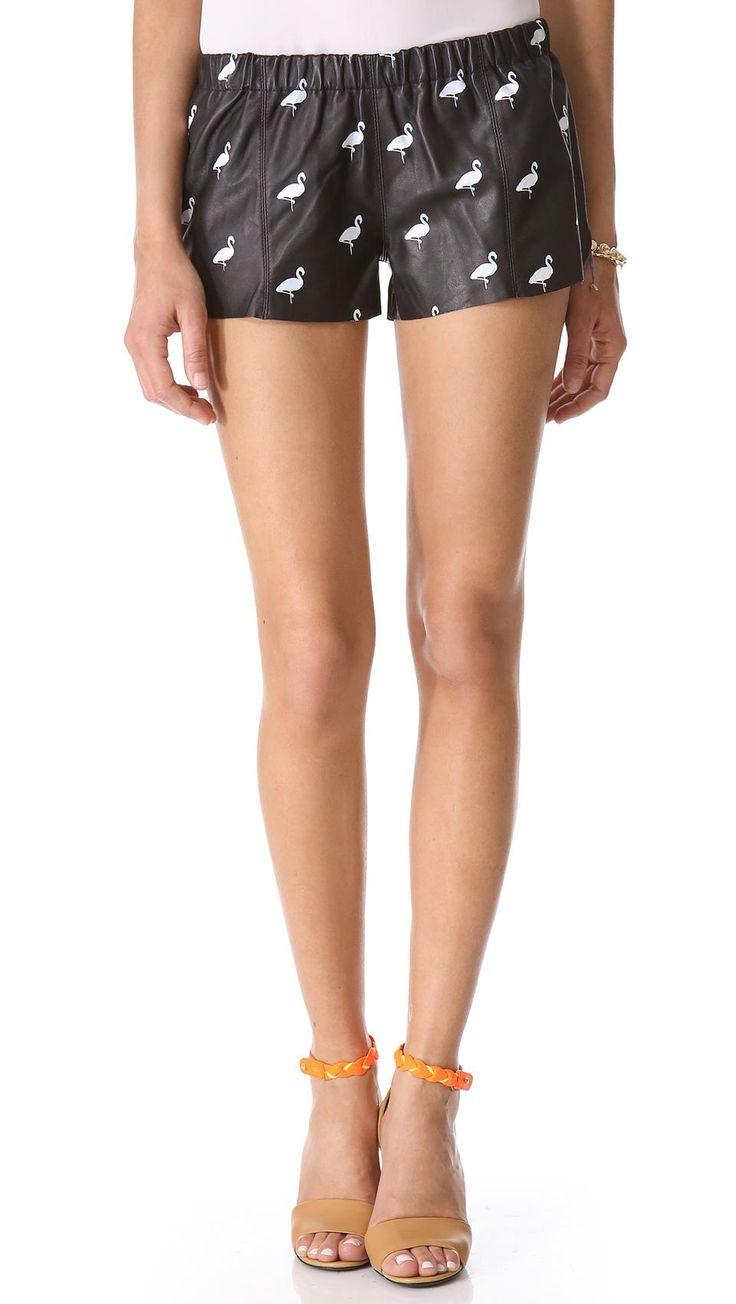 Love Leather Flamingo Print Leather Shorts