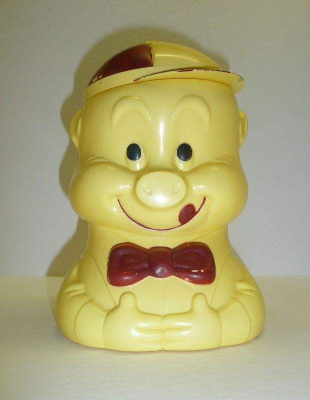 1940s Celluloid Porky Pig Cookie Jar Vintage Iconic Advertising Warner Bros. Looney Tunes and Merrie Melodies Rare Americana Collectable