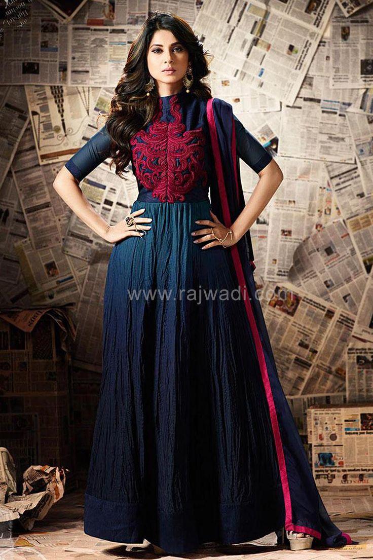 Navy Blue Jennifer Winget Anarkali Dress Material... #JenniferWinget #rajwadi #designer #ethnic #eidsalwarkameezmaterial #eidspecialdresses #WomensSuitsforEid #onlineshopping #navyblue