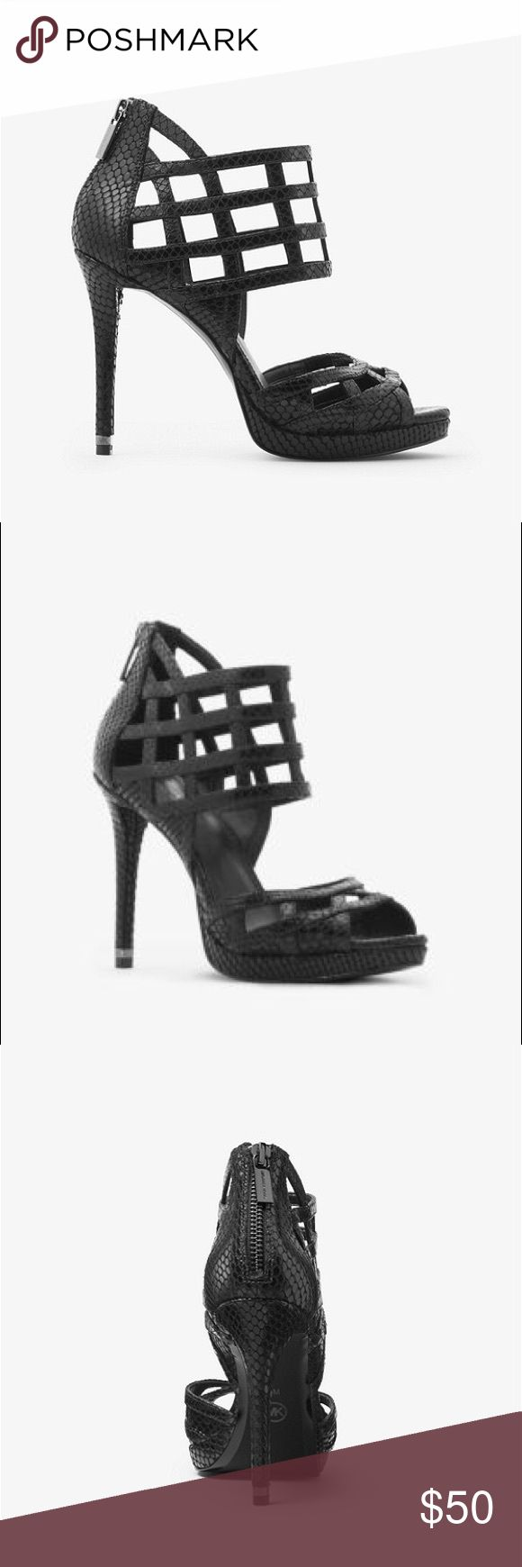 """Michael Kors Trinity Embossed leather sandal. Michael Kors brand new black Trinity platform sandal. This snake Embossed leather heels are defined by an array of interlocking straps and a towering heel. Heel height is 4.5"""". Michael Kors Shoes Heels"""