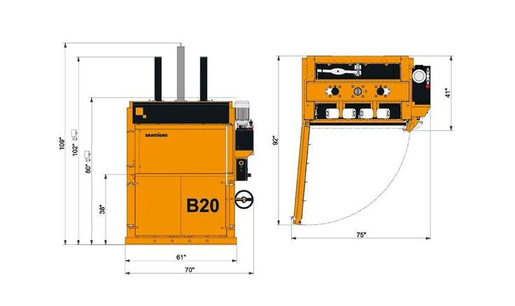 Try efficient waste compaction in a low profile Bramidan B20 vertical baler