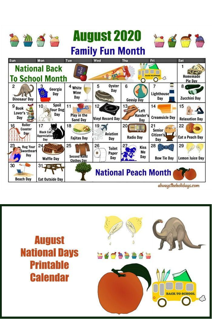 August National Day Calendar   Free Printable of National Days