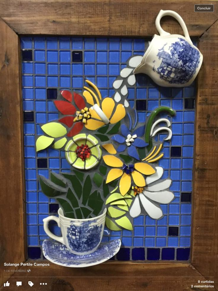3d Mosaic Flowers Repurposed Crockery Projects To Try