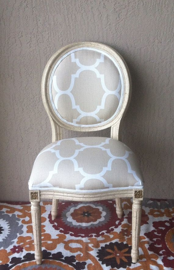 Louis XVI Upholstered chair Beige.white Moroccan print .Dining Chair.Upholstered Chair.Accent Chair. Side Chair.Desk Chair.Accent Chair on Etsy, $245.00