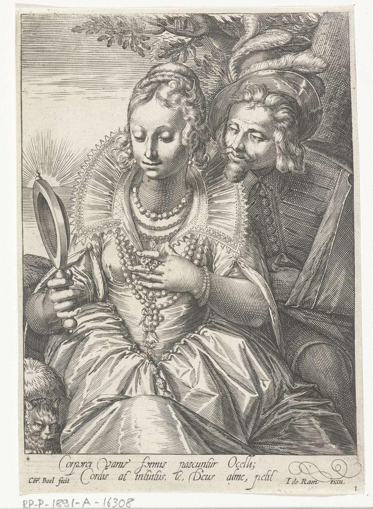 Cornelis Boel | Gezicht, Cornelis Boel, Anonymous, Johannes de Ram, 1663 - 1693 | Een goed geklede vrouw bekijkt haar sieraden in een handspiegel. Over haar schouder kijkt een heer mee. Op de achtergrond is te zien hoe de zon opkomt uit de zee. Prent uit een serie van vijf prenten met voorstellingen van de zintuigen.