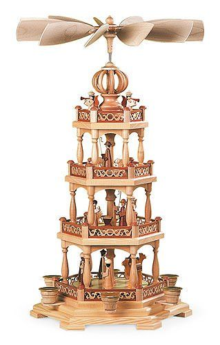 4-tier German Christmas Pyramid - The Christmas Story - 55 cm / 22 inch - Authentic German Erzgebirge Christmas Pyramids - Müller Kleinkunst
