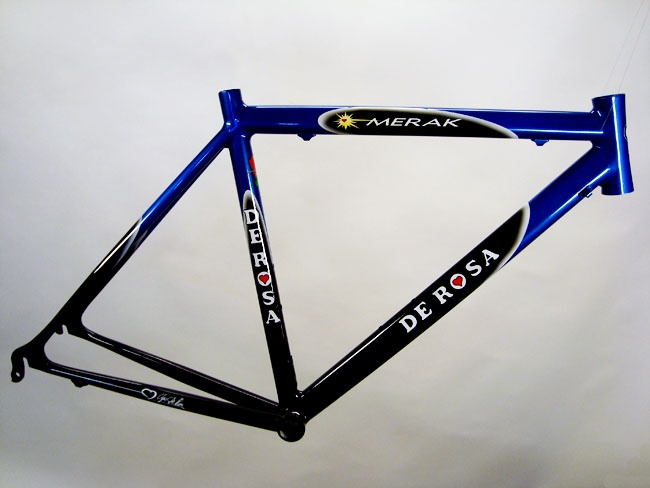 This bike was in very bad shape and the customer wanted to mimic the original paint design as much as possible.  Here is what the original looked like -- http://2.bp.blogspot.com/_693JCT80K-E/SwHT_vN4AuI/AAAAAAAAA_E/cyAETNFt5_c/s1600/de_rosa_merak.jpg  All done by Jack Kane and Zane Schweer