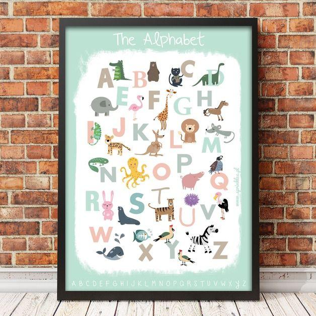 Poster for children. Size 50x70cm. Mint Alphabet