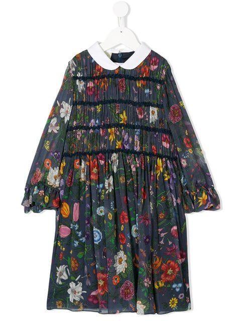 b4b7a88044b4 Gucci Kids Floral Print Pleated Dress in 2019   Girl dress idea ...
