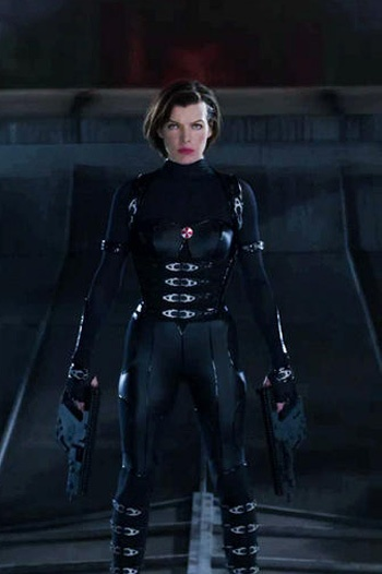 Black Latex And Metal Catsuit Worn By Milla Jovovich