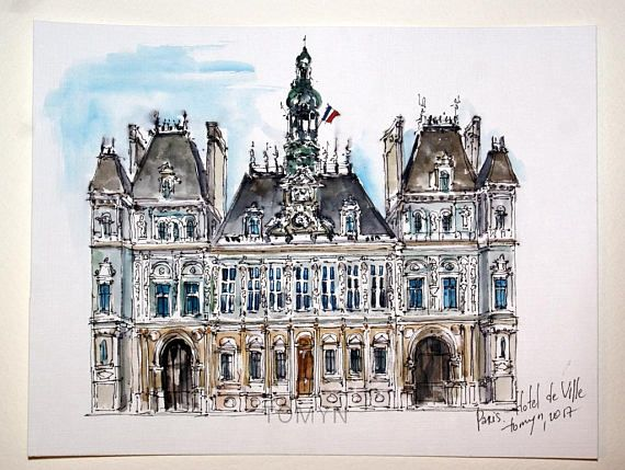 Paris Watercolor Hotel De Ville Paris Wall Art Parisian