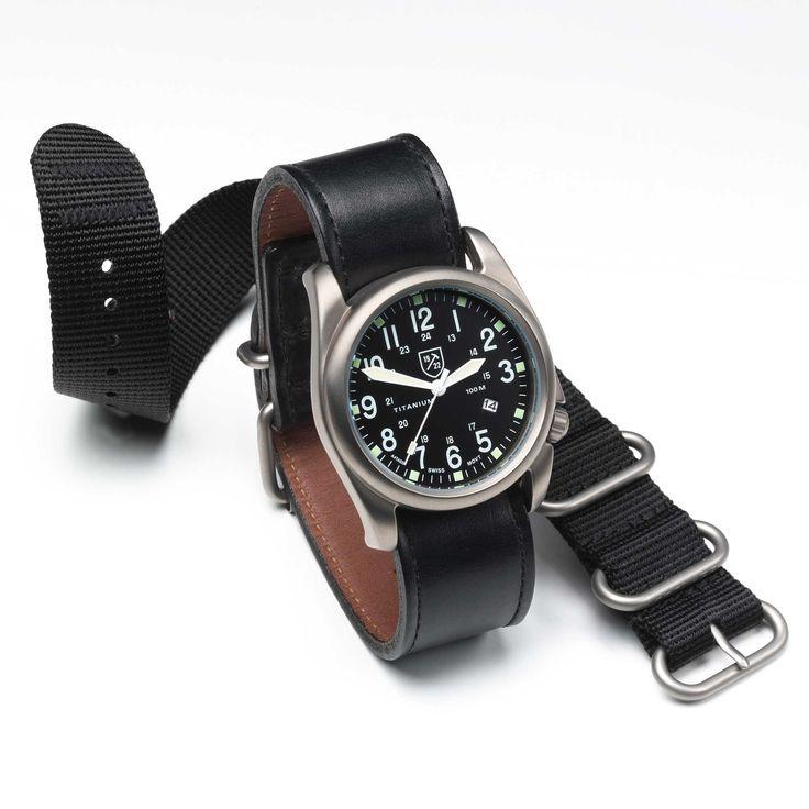 Field Watch by Allen Edmonds- comes with 2 straps, titanium, 44mm, 100m, date, quartz movement $250