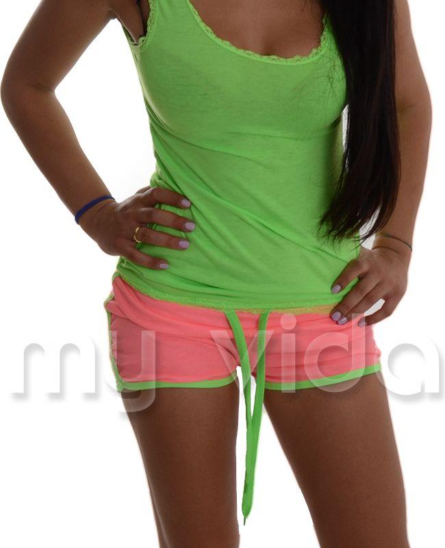ROSA CHIARO / VERDE  - #Shorts donna sportivi. #Pantaloncini #estivi in misto cotone tuta fitness.
