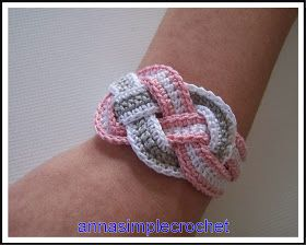 Bracelet from I believe #10 crochet thread.  Free pattern from Anna Simple Crochet.  Thank you!