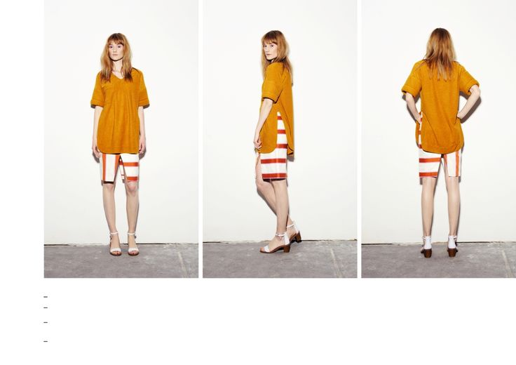 Mustard t-shirt with quilted sleeve and orange-pink stiped, asymmetrical pencil skirt.