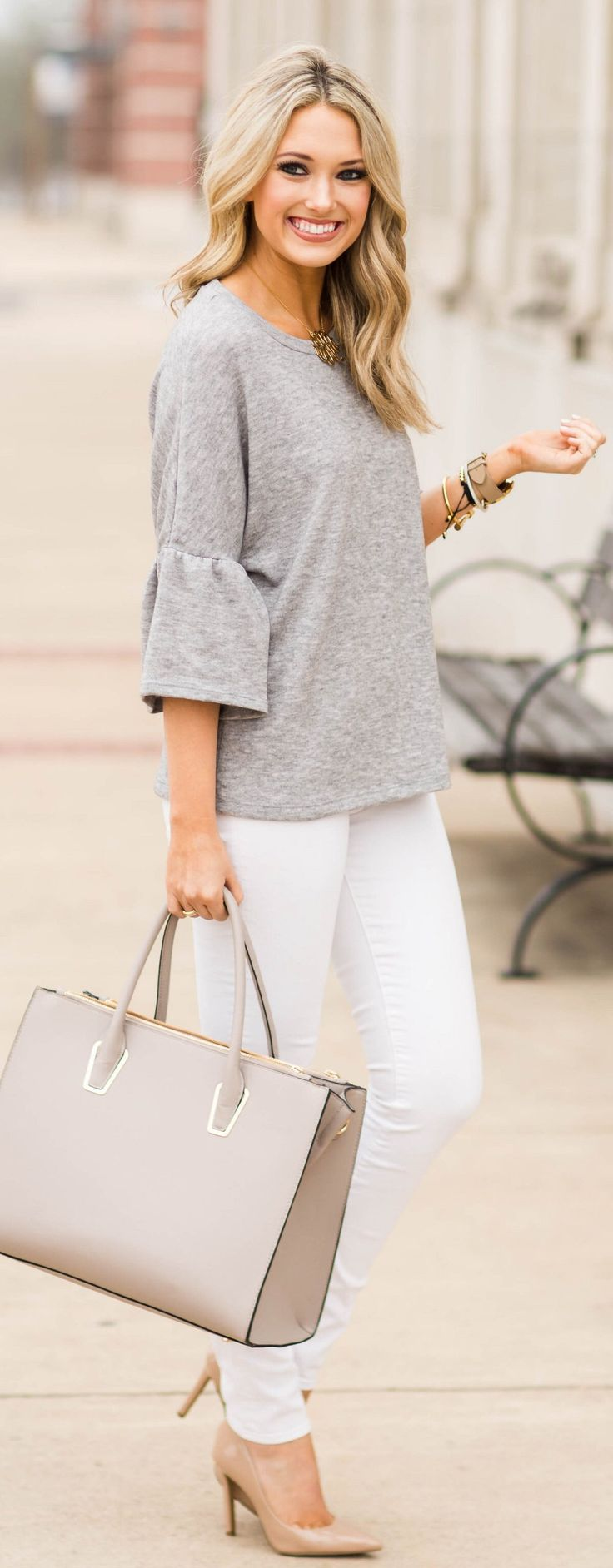Grey Top / White Skinny Jeans / Nude Pumps / Grey Leather Tote Bag