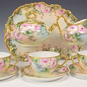 Gorgeous Limoges France Roses Afternoon Tea Service, Elegant Tea Set with Tray ~ Teacups