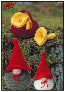 2000 Free Amigurumi Patterns: Little People and Mushrooms in Basket (in Swedish)