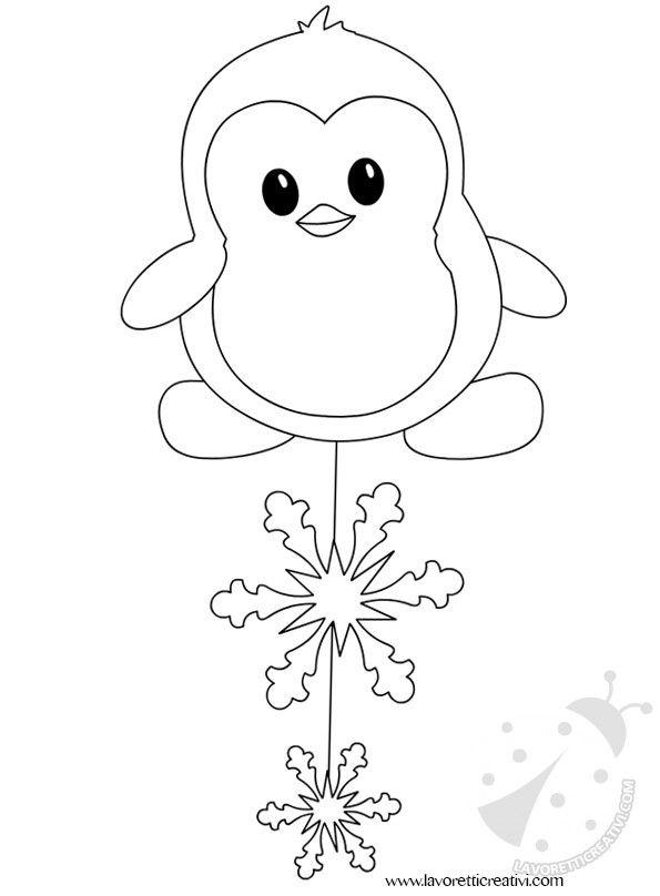 Pinguino con due fiocchi di neve pendenti da realizzare con i cartoncini colorati e il filo di nylon. Decorazioni per finestra Lavoretti invernali Material