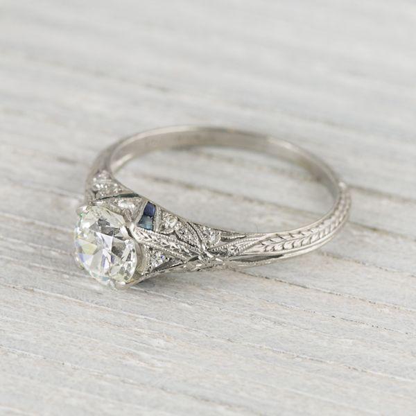 1.03 Carat Vintage Sapphire & Diamond Engagement Ring | Erstwhile Jewelry Co.