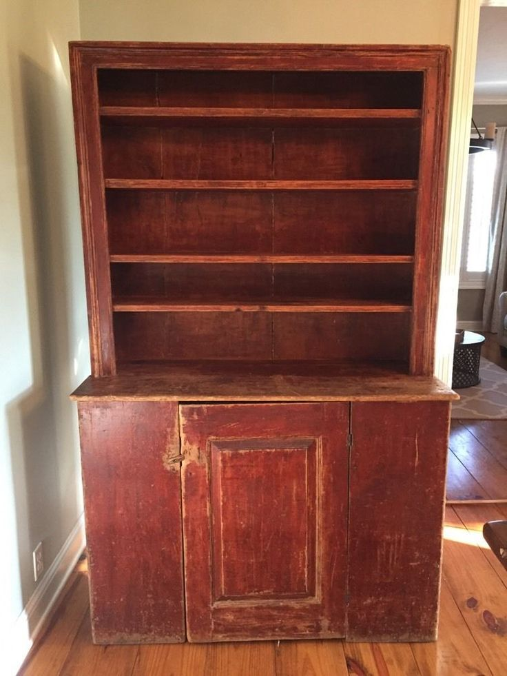 18Th-C Original Painted Red Early American Antique StepBack Cupboard  Primitive - 349 Best Primitive Cabinets Images On Pinterest Colors, Colonial