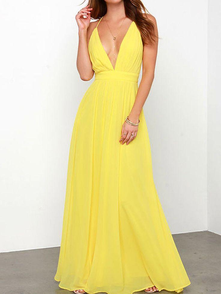 Yellow Plunge Spaghetti Strap High Waist Backless Maxi Dress