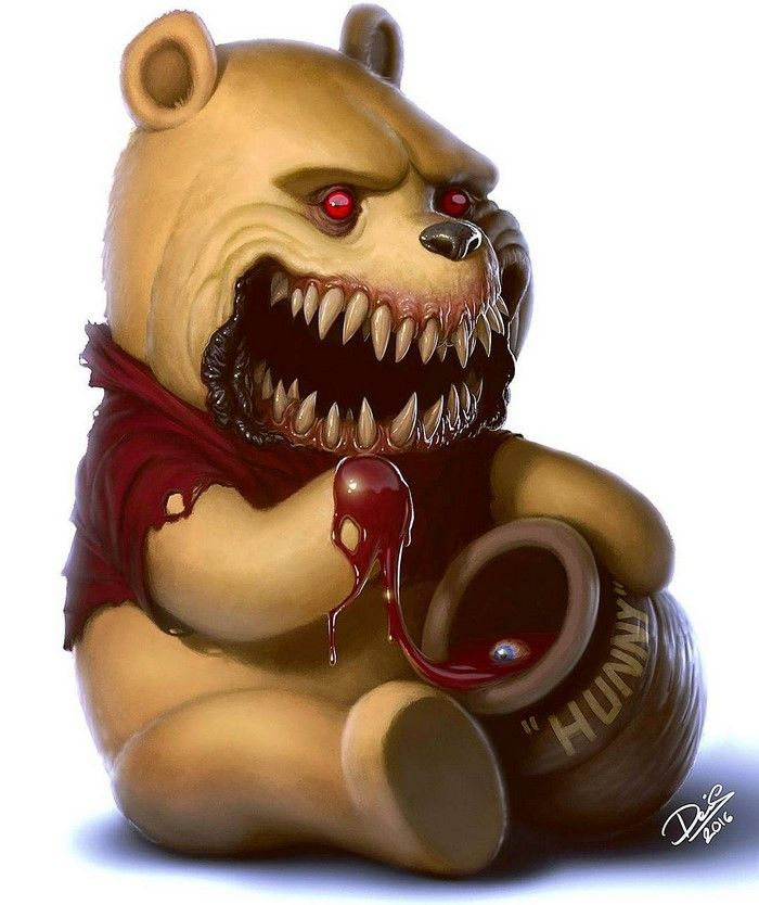 11 of Your Favorite Childhood Cartoon Characters Turned Into Monsters Will Give You Nightmares - Winnie the Pooh by Swedish illustrator and tattoo artist Dennis Carlsson