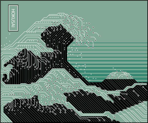 """ Katsushika Hokusai Electronic Circuit Board """