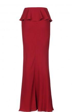 Шелковая юбка в пол с высоким разрезом и баской