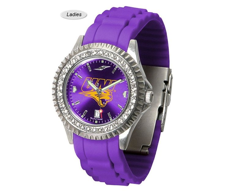 The Sparkle AnoChrome Northern Iowa Panthers Watch is available in a Ladies style. Showcases the Panthers logo. Color-coordinated silicone band. Free Shipping. Visit SportsFansPlus.com for Details.