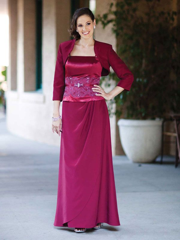 2012 A-line with beading embellishment satin dress for mother of the bride