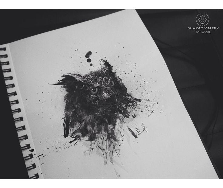 Owl black art, ink, brushes.