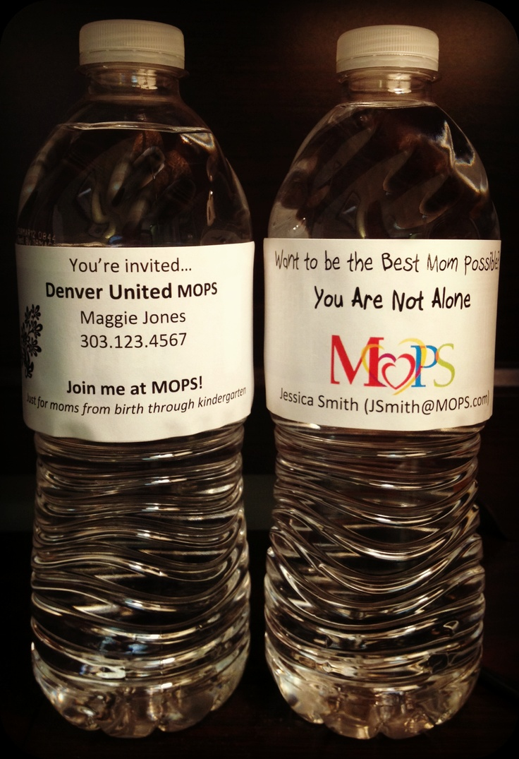 MOPS - Put invitation labels on bottles of cold water to pass out at the park, the county fair or craft bazaar!