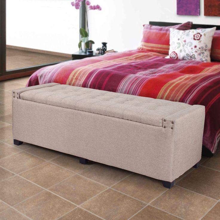 Lorraine Tufted Storage Bench: Adeco Fabic Rectangular Tufted Lift Top Storage Bench