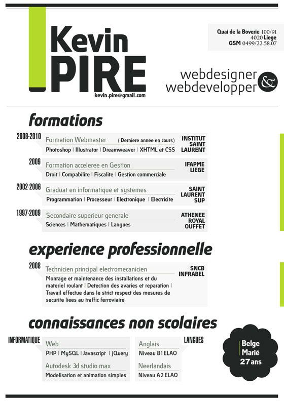 47 best Creative CV images on Pinterest Creative curriculum - web developer resume template