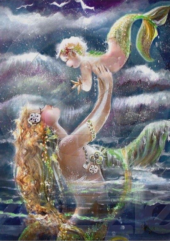Love it! Mama & baby mermaid